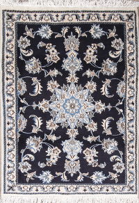Navy Blue Floral Nain Persian Wool Rug 3x4