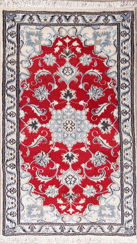 Red Floral Nain Persian Wool Rug 3x4
