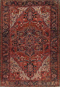 Antique Geometric Heriz Serapi Persian Area Rug 9x13