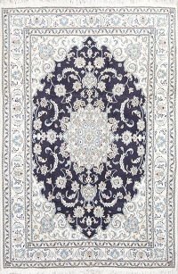 Navy Blue Floral Nain Persian Area Rug 6x8