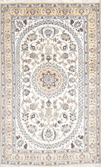 Wool & Silk Floral Ivory Nain Persian Hand-Knotted Area Rug 5x8