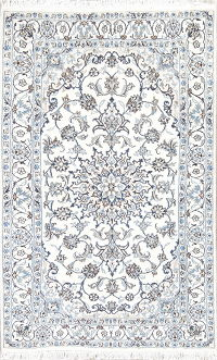Wool & Silk Floral Ivory Nain Persian Hand-Knotted Area Rug 4x6