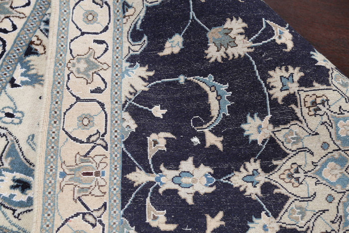 Wool/Silk Floral Navy Blue Nain Persian Oriental Hand-Knotted Area Rug 4x7