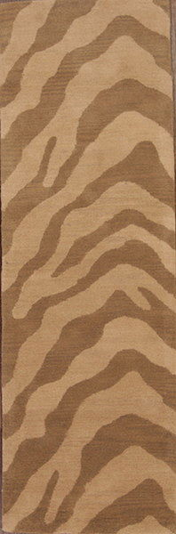 Beige Animal Print Oushak Agra Indian Oriental Runner Rug 3x8