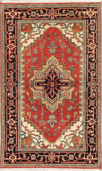 Geometric Red Heriz Indian Oriental Hand-Knotted Rug Wool 3x5