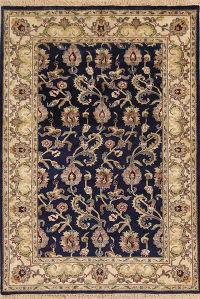 Navy Blue Floral Oushak Oriental Hand-Knotted Area Rug Wool 4x6