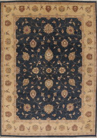 Charcoal Blue Floral Oushak Oriental Area Rug 10x14