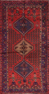 Red Geometric Hamedan Persian Area Rug 4x7