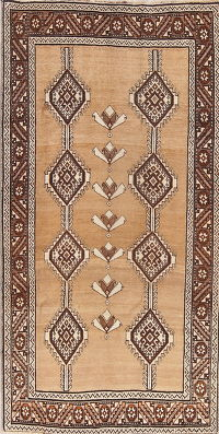 Brown Geometric Gabbeh Shiraz Persian Area Rug 4x8