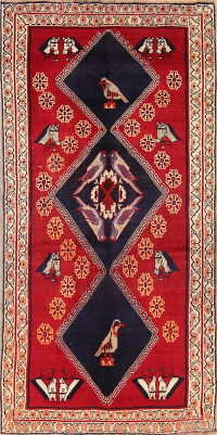 Red Animal Pictorial Gabbeh Shiraz Persian Area Rug 4x8