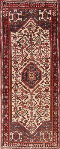 Antique Ivory Tribal Abadeh Persian Runner Rug 4x8