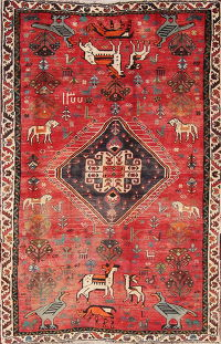 Red Animal Pictorial Kashkoli Persian Area Rug 4x7