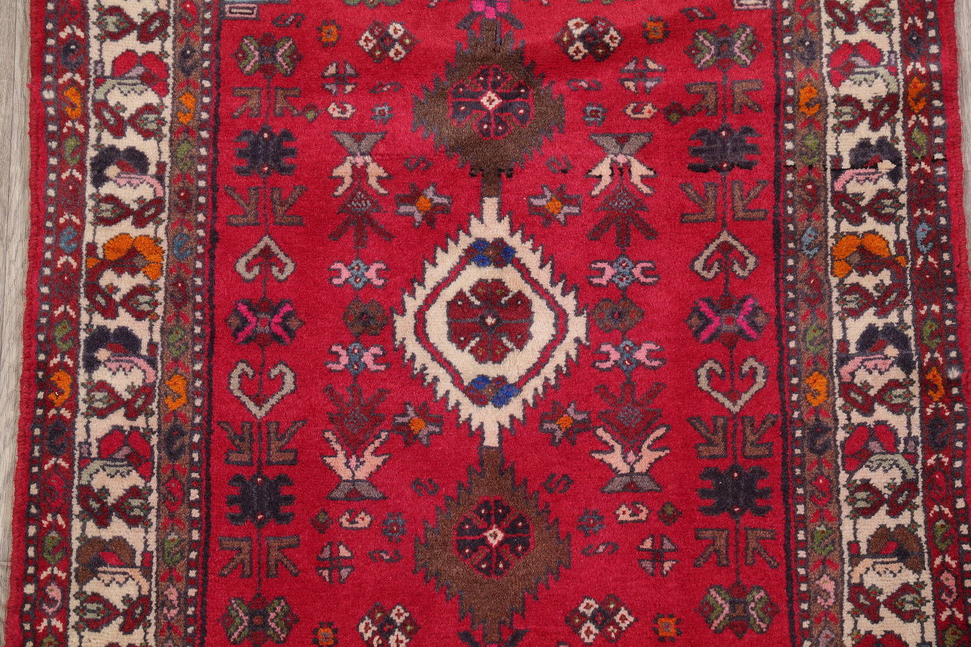 Red Tribal Bakhtiari Persian Runner Rug 3x6