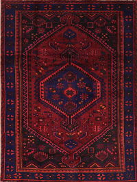 Red Geometric Hamedan Persian Area Rug 5x7