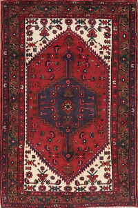 Red Tribal Geometric Hamedan Persian Area Rug 4x6