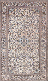 Ivory Floral Kashan Persian Area Rug 5x8