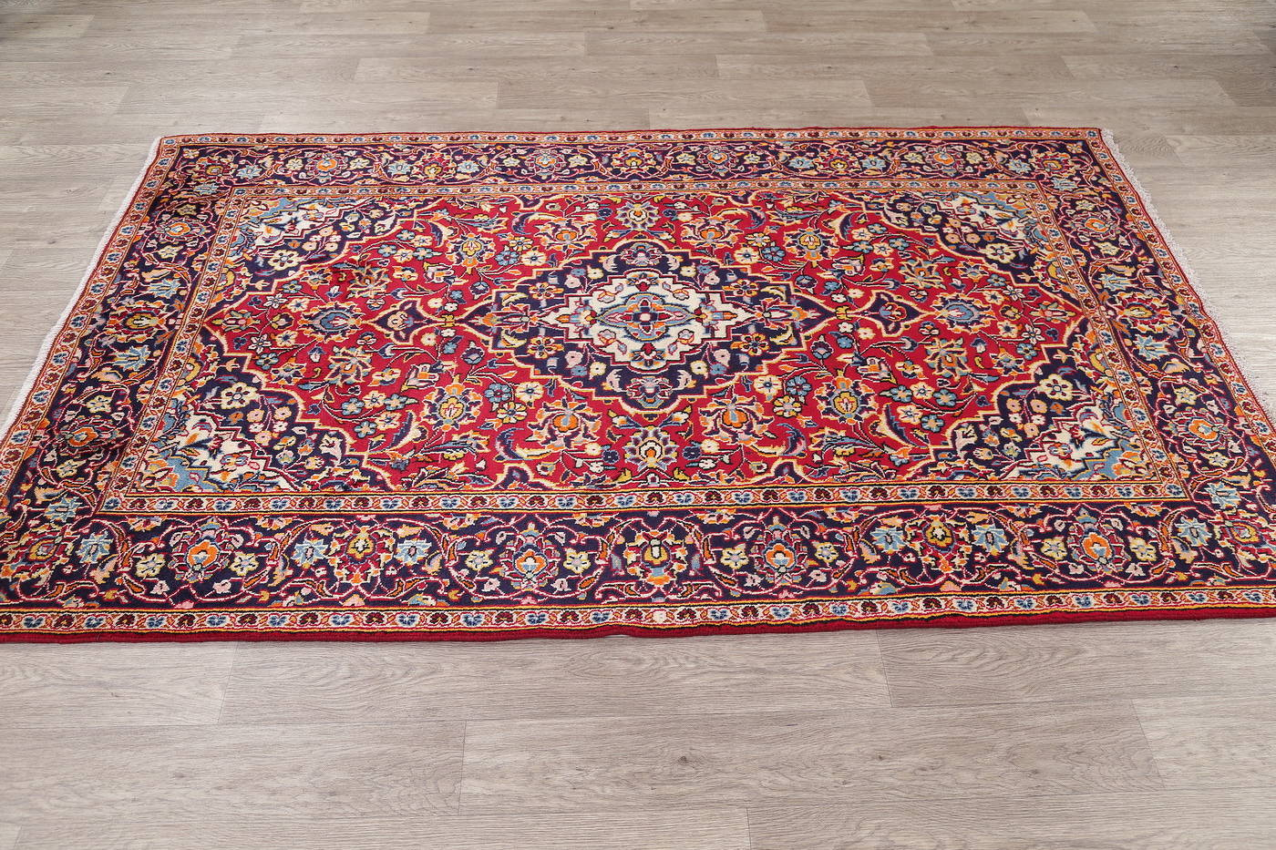 Red Traditional Floral Kashan Persian Area Rug 5X8