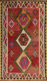 Red Geometric Kilim Shiraz Persian Area Rug 5x9