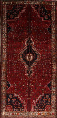 Red Tribal Hamedan Persian Runner Rug 5x11