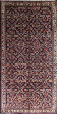 Purple Geometric Sarouk Persian Runner Rug 6x11