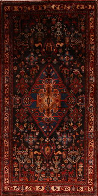 Tribal Geometric Nahavand Persian Runner Rug 5x11