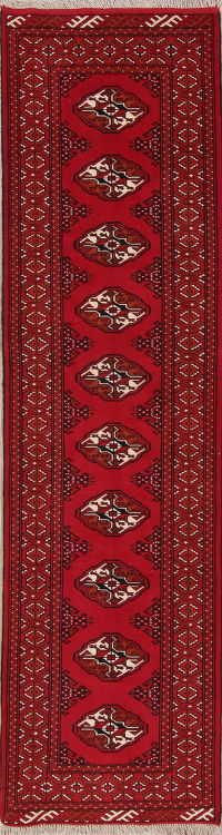 Red Geometric Balouch Oriental Runner Rug 3x10