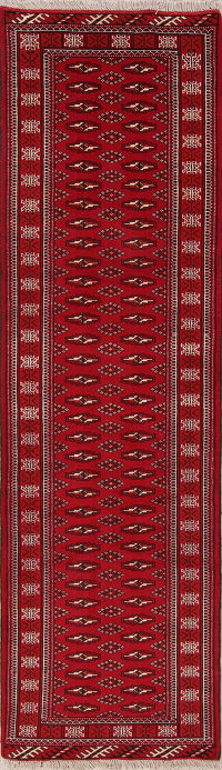 Red Balouch Bokhara Afghan Oriental Runner Rug 3x9
