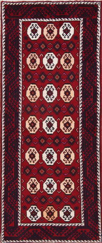 Red Geometric Balouch Oriental Runner Rug 3x7