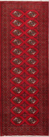 Red Geometric Balouch Oriental Runner Rug 4x9