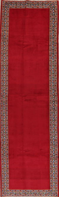 Red Floral Solid Kashan Persian Runner Rug 4x13