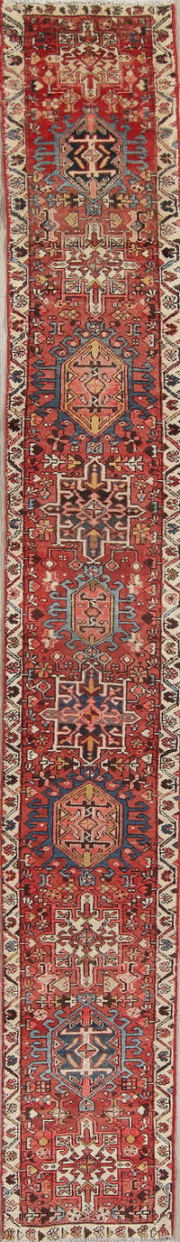 Red Antique Geometric Gharajeh Persian Runner Rug 2x14