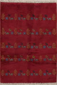 Red Tribal Gabbeh Shiraz Persian Wool Rug 3x4