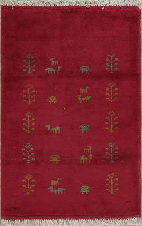 Rose Red Tribal Gabbeh Shiraz Persian Wool Rug 3x4
