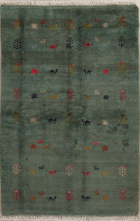 Green Tribal Gabbeh Shiraz Persian Area Rug 4x6