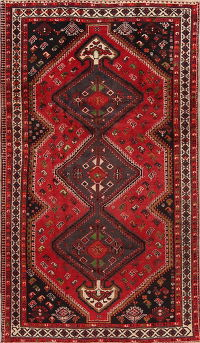 Antique Tribal Geometric Lori Shiraz Persian Area Rug 5x8