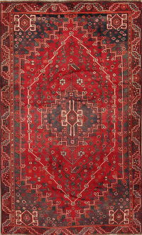 Red Antique Geometric Qashqai Shiraz Persian Area Rug 5x8