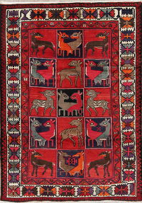 Animal Pictorial Geometric Kashkoli Shiraz Persian Area Rug 7x9