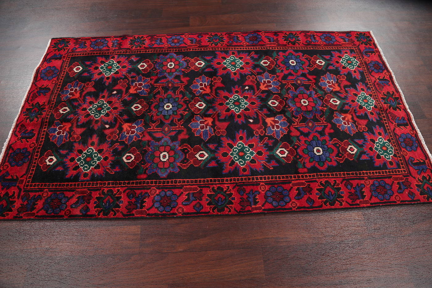 Hand-Knotted Black Floral Malayer Persian Area Rug 4x7