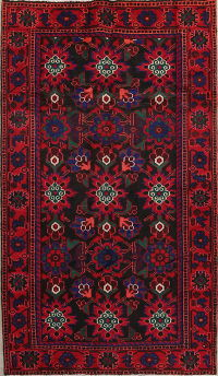 Black Floral Malayer Hamedan Persian Area Rug 4x7