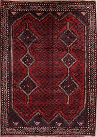 Red Geometric Lori Shiraz Persian Area Rug 7x9