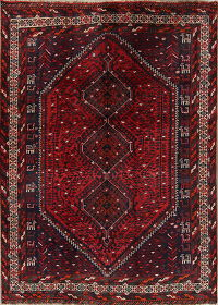 Red Tribal Geometric Lori Persian Area Rug 6x9