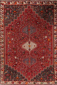 Red Animal Pictorial Geometric Kashkoli Persian Area Rug 7x10