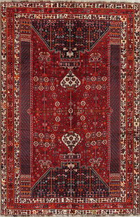 Red Geometric Kashkoli Persian Area Rug 7x11