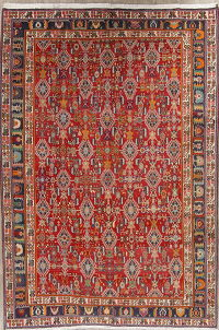 Red Geometric Kashkoli Persian Area Rug 7x9