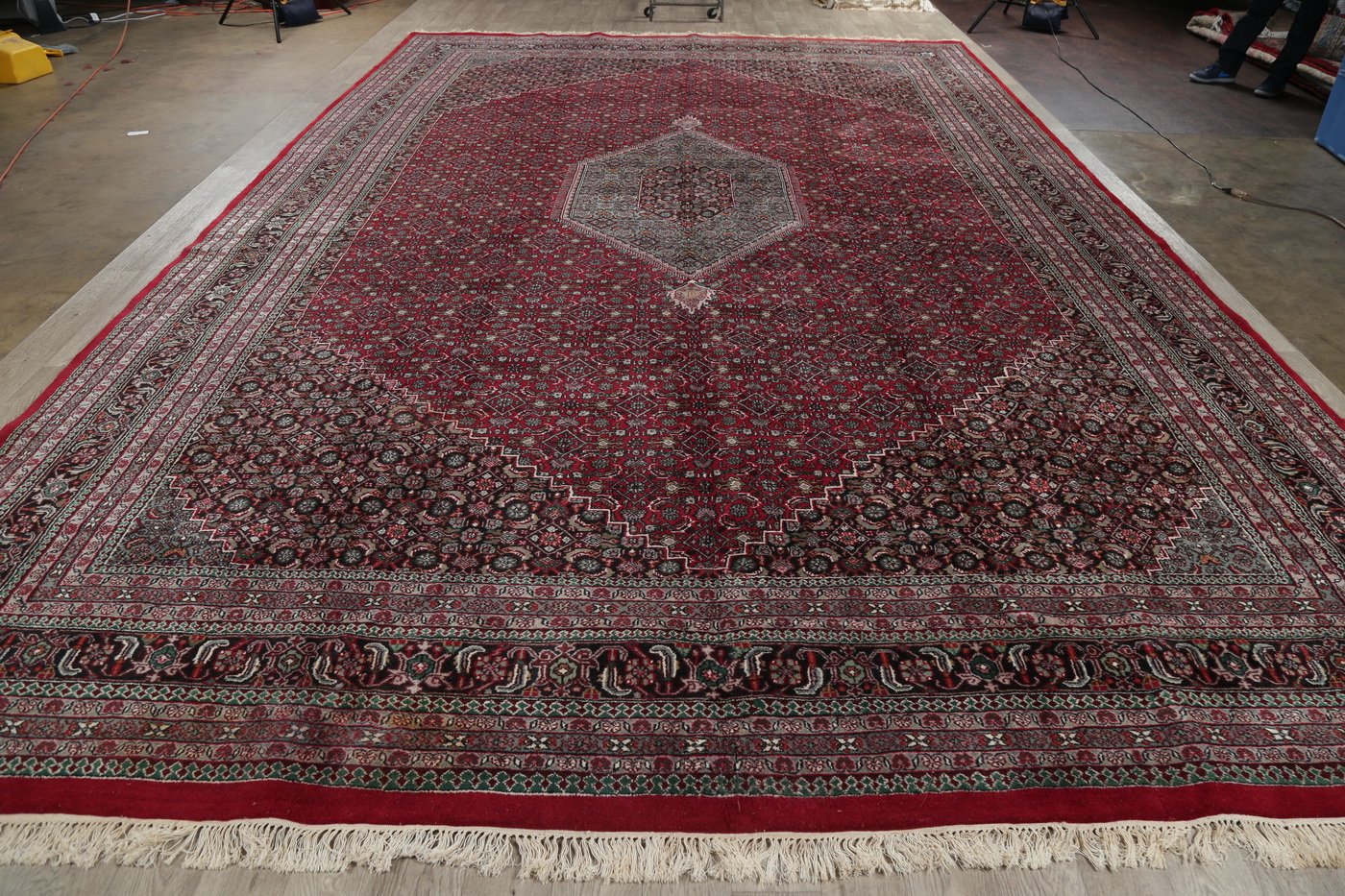 Red Geometric Bidjar Indian Oriental Area Rug 12x18