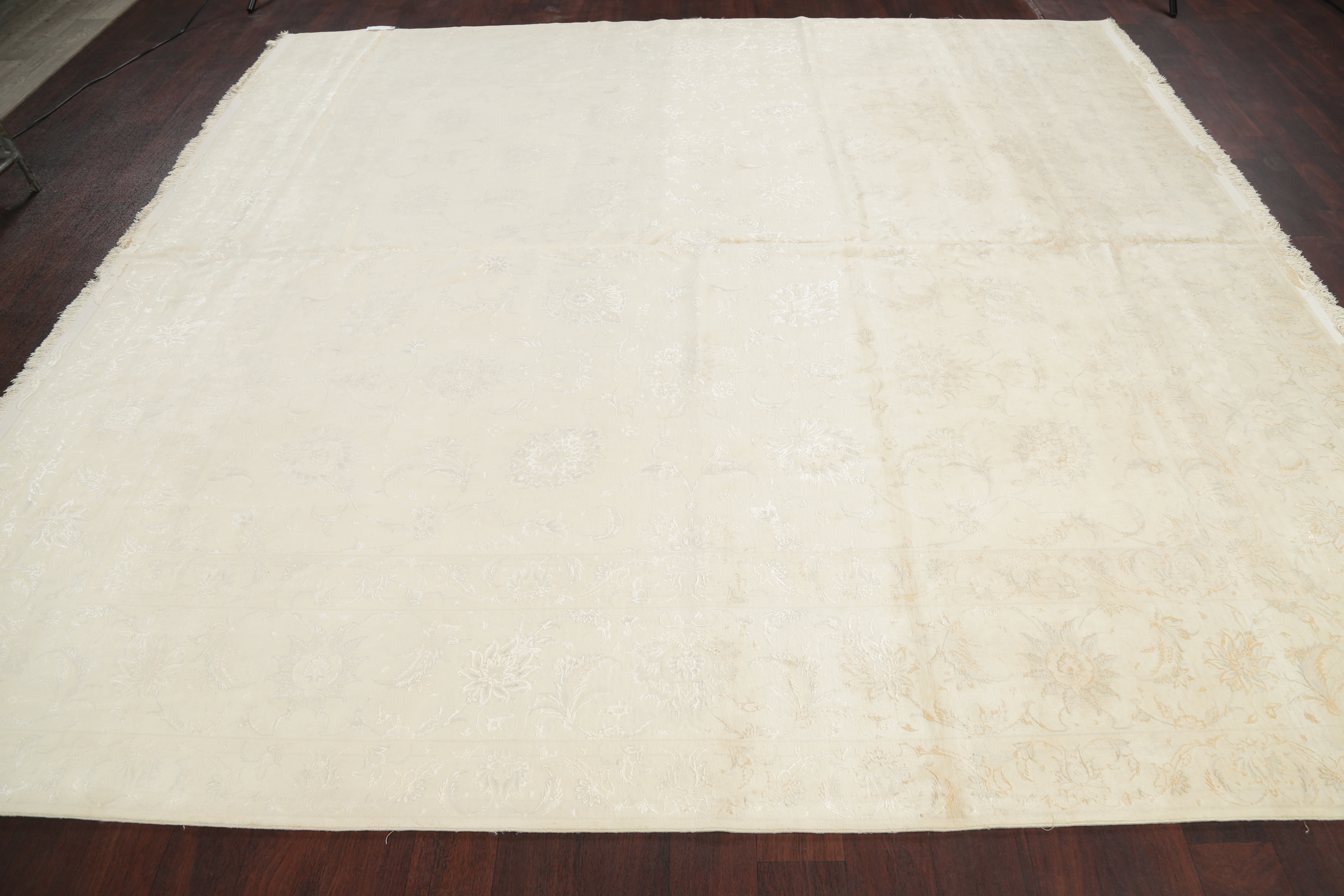 Solid Ivory Tabriz Persian Square Area Rug 10x10