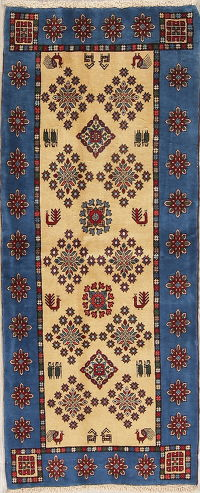 Tribal Geometric Gabbeh Kashkoli Persian Runner Rug 3x6