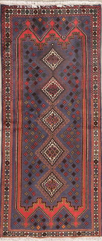 Purple Geometric Sirjan Persian Runner Rug 3x6