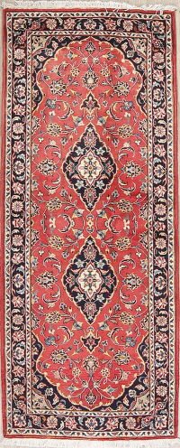 Red Floral Kashan Persian Runner Rug 3x7