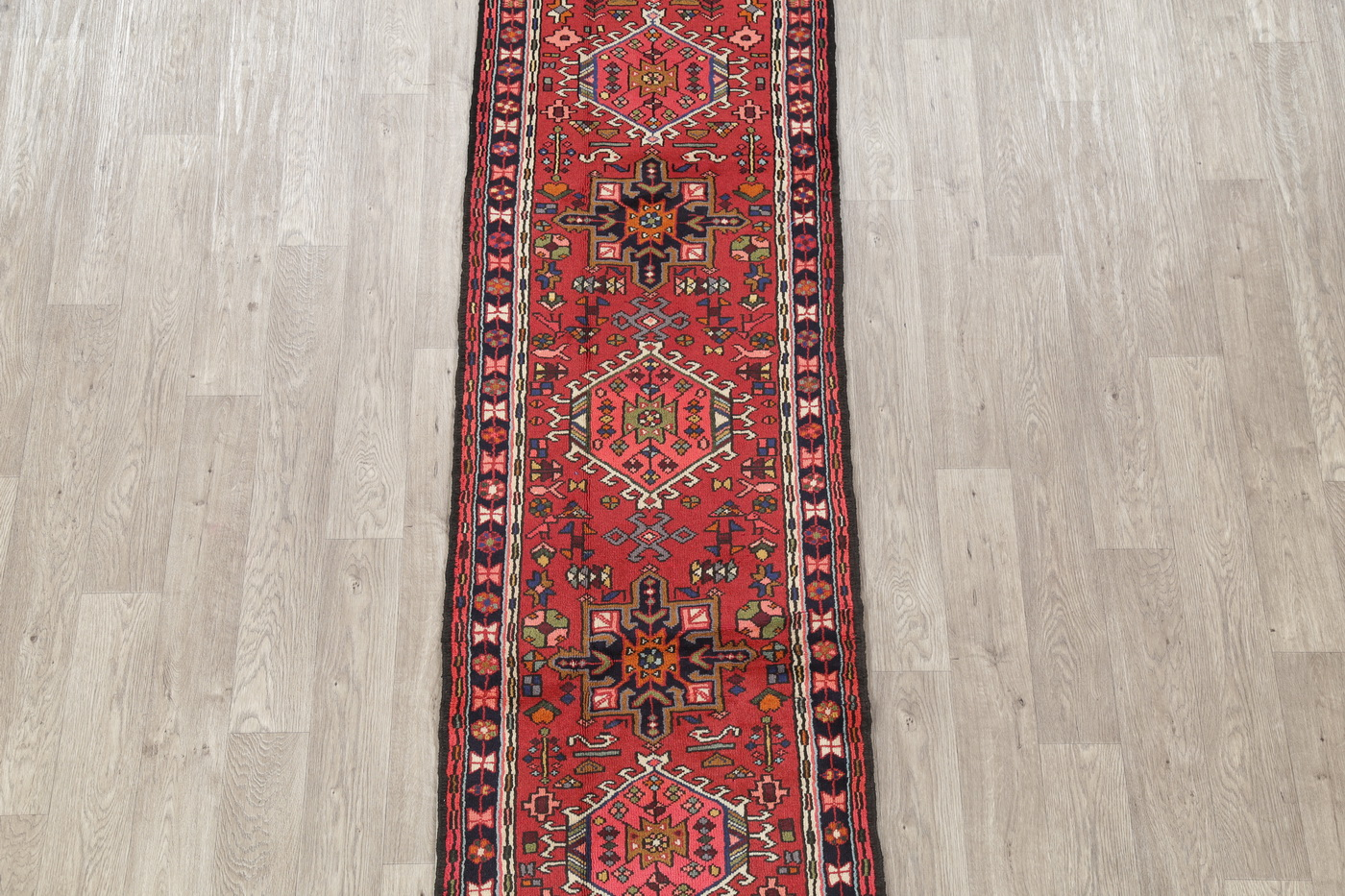 Red Geometric Tribal Gharajeh Persian Runner Rug 2x9